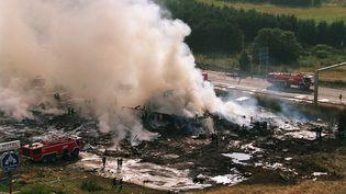 Les restes du Concorde d'Air France qui s'est écrasé le 25 juillet 2000 à Gonesse (Val-d'Oise), faisant 113 morts. (JOACHIM BERTRAND / MINISTERE DE L'INTERIEUR / AFP)