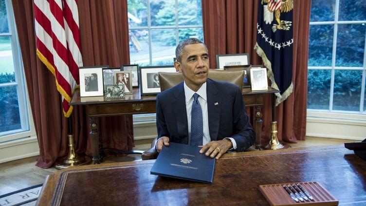 Le président américain, Barack Obama, le 1er août à la Maison Blanche (Washington). (BRENDAN SMIALOWSKI / AFP)