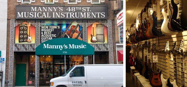 """La devanture de """"Manny's"""", juste à côté de """"Sam Ash"""".  Un des nombreux murs de guitares de chez """"Sam Ash"""""""