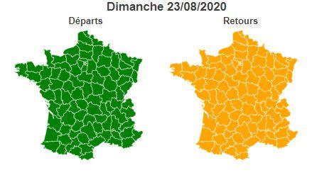 La journée de dimanche est classé vert dans le sens des départs et orange dans le sens des retours sur tout le territoire. (BISON FUTE)