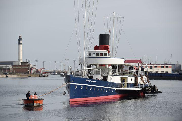 Déplacement du Princess Elisabeth, navire britannique ayant servi lors de l'opération Dynamo, pour les besoins du film de Christopher Nolan.  (PHOTOPQR/VOIX DU NORD/MAXPPP)