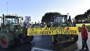 Des agriculteurs protestent contre le projet d'aéroport de Notre-Dame-des-Landes, le 12 janvier 2016, en bloquant l'accès au pont de Saint-Nazaire. (LOIC VENANCE / AFP)