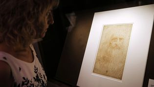 Une femme regarde un autoportrait de Léonard de Vinci à la bibliothèque de Turin (Italie). (MARCO BERTORELLO / AFP)