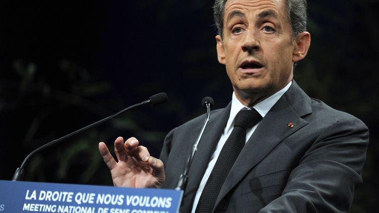 L'ancien président de la République,Nicolas Sarkozy, lors du meeting de Sens commun à Paris, le 15 novembre 2014. (DOMINIQUE FAGET / AFP)