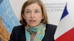 La ministre des Armées, Florence Parly, lors d'une conférence de presse à Helsinki (Finlande), le 23 août 2018. (VESA MOILANEN / LEHTIKUVA / AFP)