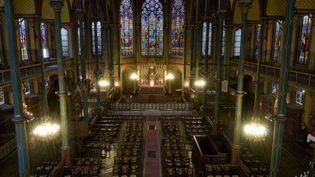 L'égliseSaint-Eugène-Sainte-Cécile, dans le 9e arrondissement de Paris où s'est tenue samedi 3 avril 2021 une messe sans respect des mesures barrières contre le Covid-19. (BEAUVIR-ANA / ONLY FRANCE)