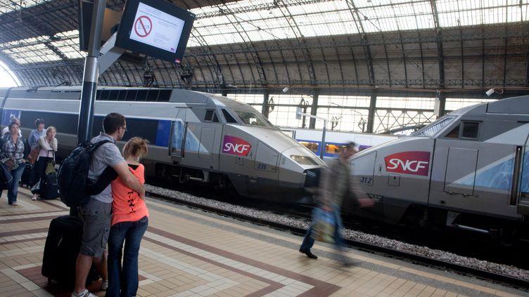 Un TGV stationné en gare de Bordeaux Saint-Jean (Gironde), le 9 juillet 2012. (LOIC VENANCE / AFP)