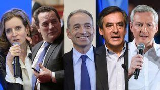 Nathalie Kosciusko Morizet, Jean-Frédéric Poisson, Jean-François Copé, François Fillon et Bruno Le Maire participeront au premier débat de la primaire à droite, le 13 octobre 2016. (AFP)