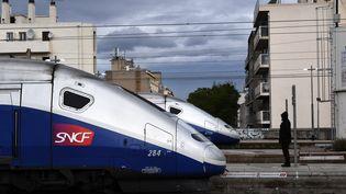 Deux TGV à la gare de Marseille, lundi 9 avril 2018. (ANNE-CHRISTINE POUJOULAT / AFP)