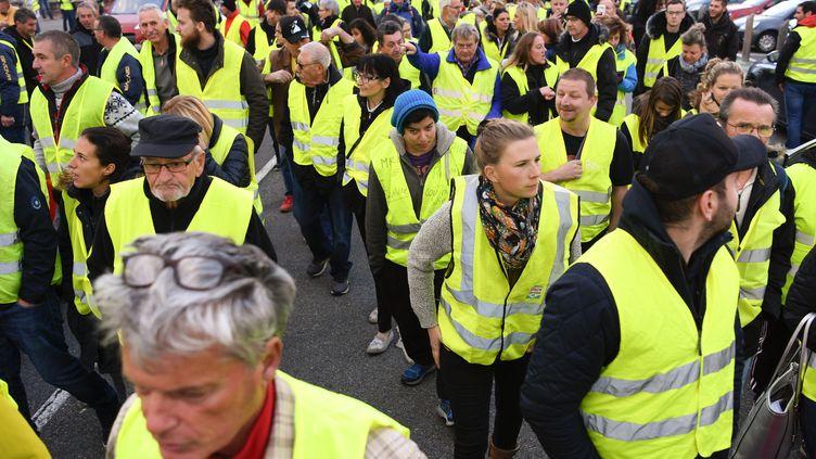 """Des """"gilets jaunes"""" manifestent contre la hausse du prix des carburants le 17 novembre 2018 sur la RN90 entre Albertville et Chambéry (Savoie). (JEAN-PIERRE CLATOT / AFP)"""