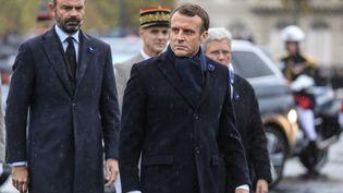 Le président de la République, Emmanuel Macron, et son Premier ministre, Edouard Phillipe, le 11 novembre 2019 à Paris. (LUDOVIC MARIN / AFP)
