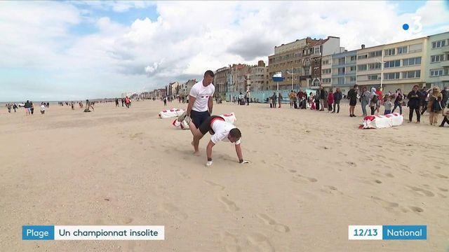 Nord : un championnat de France de brouette humaine sur la plage