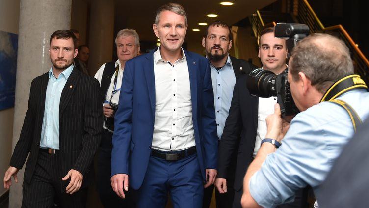 Bjoern Hoecke, candidat de l'Alternative pour l'AllemagneenThuringe, le 27 octobre 2019, àErfurt. (CHRISTOF STACHE / AFP)