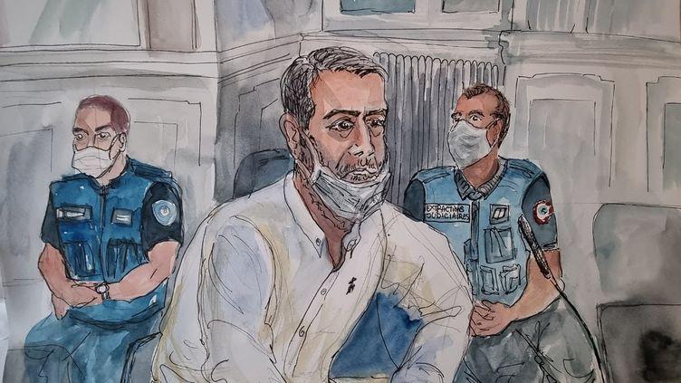 Nordahl Lelandais,le 4 mai 2021, au deuxième jour de son procèspour le meurtre d'Arthur Noyer, devantla cour d'assises de la Savoie, à Chambéry. (MARIE WILLIAMS / AFP)
