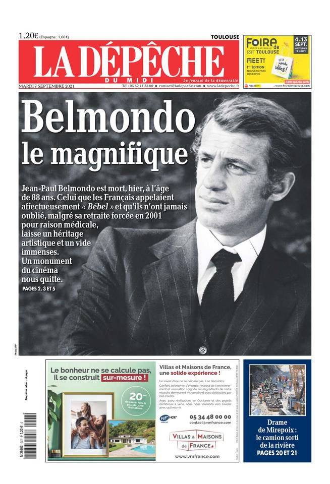 """La une de """"La Dépêche du Midi"""", le 7 septembre 2021. (LA DEPECHE DU MIDI)"""