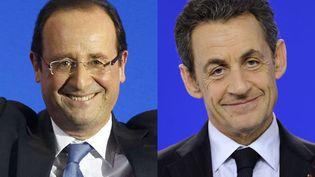 Le candidat socialiste François Hollande (G) et le président candidat Nicolas Sarkozy arrivent en tête du premier tour de l'élection présidentielle. (AFP)