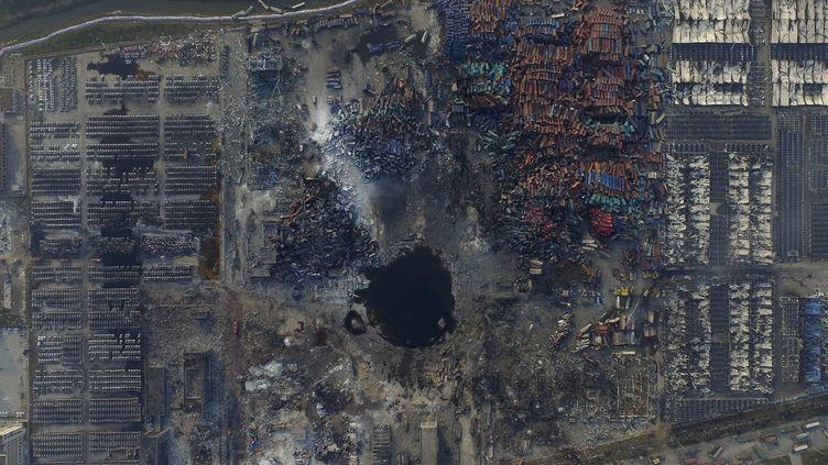 Une photo aérienne du site de Tianjin, en Chine, le 16 août 2015. (REUTEURS )
