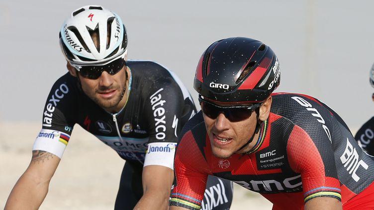 Tom Boonen (à gauche) et Philippe Gilbert (à droite) (YUZURU SUNADA / BELGA MAG)