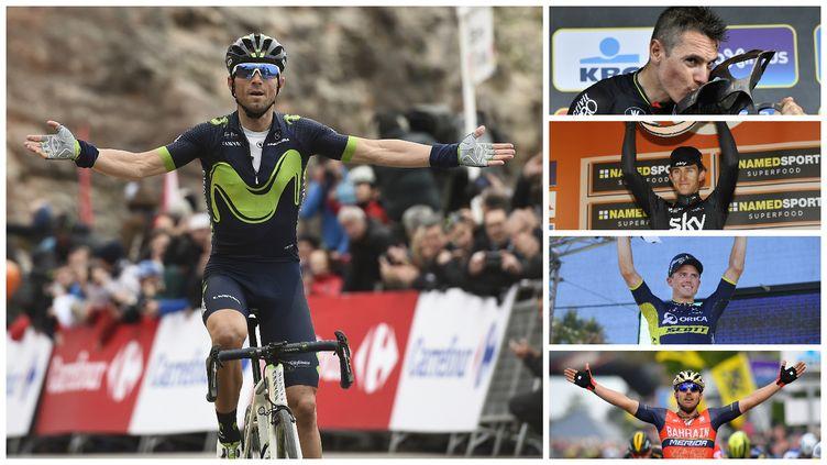 Alejandro Valverde (à gauche) est le grand favori des classiques ardennaises qui commencent ce dimanche avec l'Amstel Gold Race. Philippe Gilbert, Simon Gerrans et Sonny Colbrelli (de haut en bas) tenteront de lui contester la victoire.
