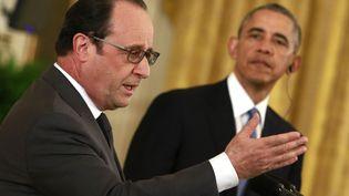 Barack Obama etFrançois Hollande tiennent une conférence de presseà la Maison Blanche à Washington, le 24 novembre 2015. (YURI GRIPAS / AFP)