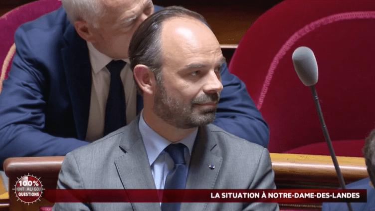 Le Premier ministre, Edouard Philippe, le 19 avril 2018, sur les bancs du Sénat (PUBLIC SENAT)