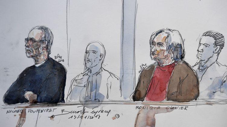 Michel Fourniret et Monique Olivier, le 13 novembre 2018 devant la cour d'assises des Yvelines, à Versailles. (BENOIT PEYRUCQ / AFP)
