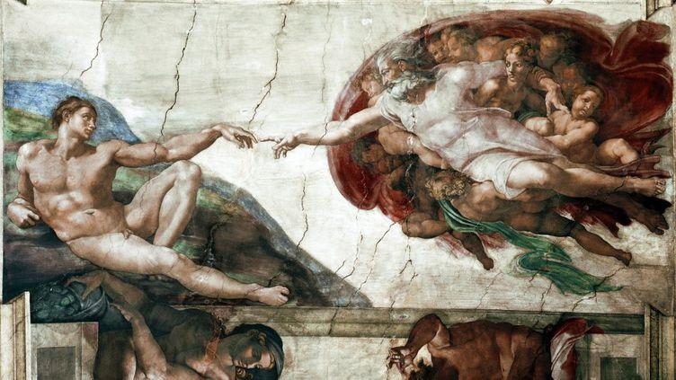 """""""La creation d'Adam"""" (The Creation of Adam). Détail d'une voûte de la chapelle Sixtine (Sistina), fresque de Michelangelo Buonarroti, dit Michel Ange (Michelange ou Michel-Ange, 1475-1564). (Luisa Ricciarini/Leemage)"""