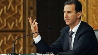 Bachar al-Assad le 7 octobre 2018, lors d'une conférence à Damas. (SANA / AFP)