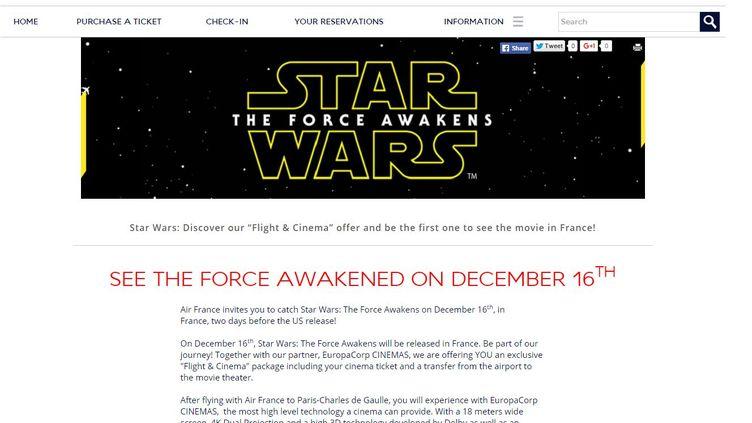 """Capture d'écran du site d'Air France proposant aux Américains de voir """"Star Wars"""" deux jours avant sa sortie aux Etats-Unis. (AIR FRANCE                       )"""