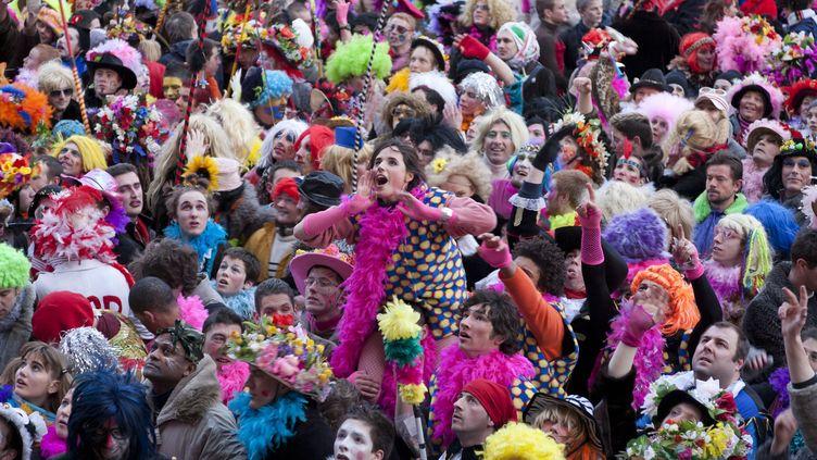 Des carnavaliers dans les rues de Dunkerque (Nord), le 2 mars 2014. (LECLERCQ OLIVIER / HEMIS.FR / AFP)