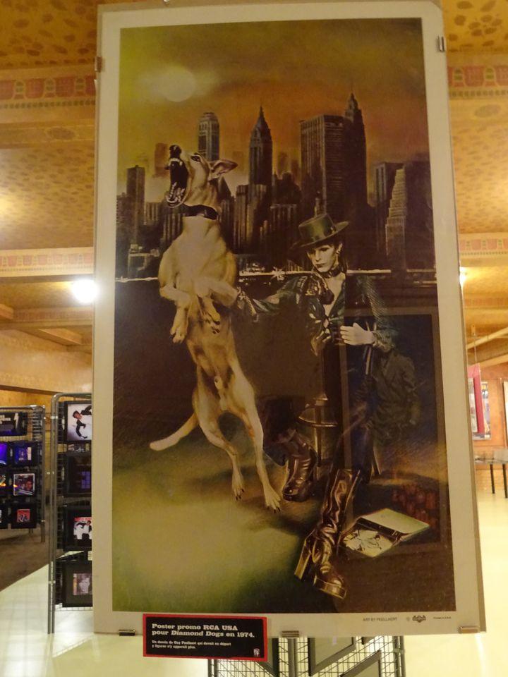 """Le poster promo de l'image, signée Guy Peellaert d'après une photo de Terry O'Neill, qui devait figurer sur le rabat de la pochette de """"Diamond Dogs"""" (1974) et fut censurée. (COLLECTION JEAN-CHARLES GAUTIER - PHOTO FRANCE INFO CULTURE)"""