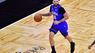 Le basketteur français Evan Fournier lors d'un match entre les Orlando Magic et les Brooklyn Nets, le 19 mars 2021, en Floride (Etats-Unis). (JULIO AGUILAR / GETTY IMAGES NORTH AMERICA / AFP)