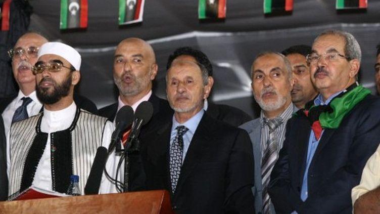 Mustafa Abdul Jalil, président du CNT, lors de son discours à la place des Martyrs, à Tripoli, le 12 Septembre, 2011 (AFP PHOTO / MAHMUD TURKIA)