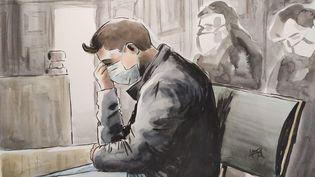 Jonathann Daval au premier jour de son procès devant la cour d'assises de la Haute-Saône, le 16 novembre 2020 à Vesoul. (VALENTIN PASQUIER / FRANCE TELEVISIONS)