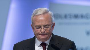 Martin Winterkorn, ancien patron du groupe Volkswagen, lors d'une conférence de presse à Berlin (Allemagne), le 13 mars 2014. (JOHANNES EISELE / AFP)