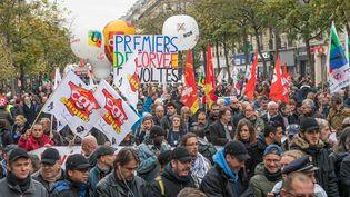 Manifestation de la CGT et FO contre les réformes du gouvernement, le 16 novembre 2017 à Paris. (MAXPPP)