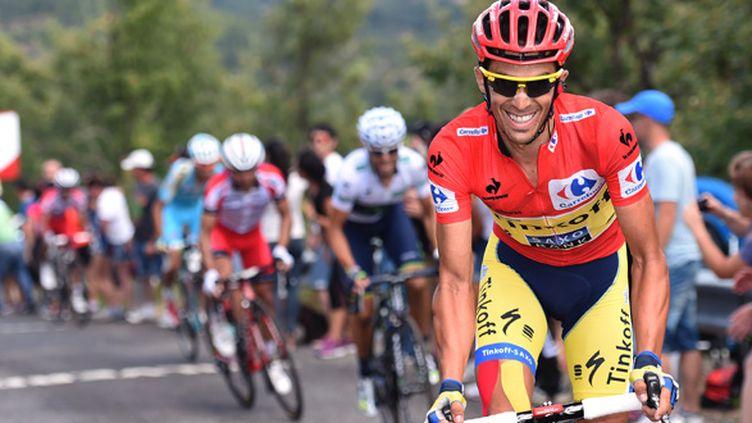 Alberto Contador (Tinkoff-Saxo) dans ses oeuvres sur la Vuelta. (DE WAELE TIM / TDWSPORT SARL)