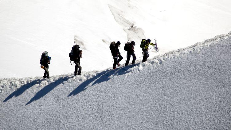 Des alpinistes gravissent le Mont Blanc (Haute-Savoie), le 22 mai 2019. (PHILIPPE ROY / AFP)