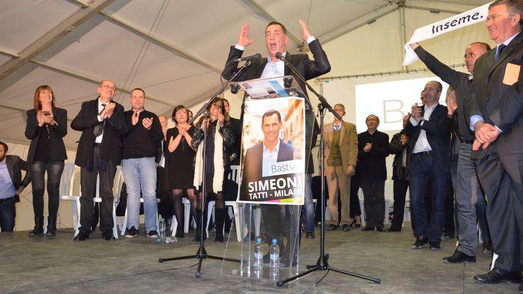 Le candidat nationaliste modéré à la mairie de Bastia,Gilles Simeoni, le 27 mars 2014. (THOMAS BAIETTO / FRANCETV INFO)