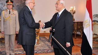 A gauche, Mohamed ElBaradei, investi vice-président de l'Egypte, chargé des questions internationales, le 14 juillet 2013 au Caire. (EGYPTIAN PRESIDENCY / AFP)