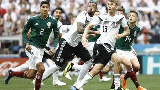 Le match de la Coupe du monde entre l'Allemagne et le Mexique, le 17 juin 2018, à Moscou(Russie). (MEHDI TAAMALLAH / NURPHOTO / AFP)