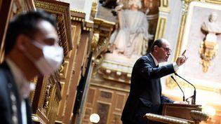 Jean Castex à la tribune du Sénat, le 16 juillet 2020 à Paris. (BERTRAND GUAY / AFP)