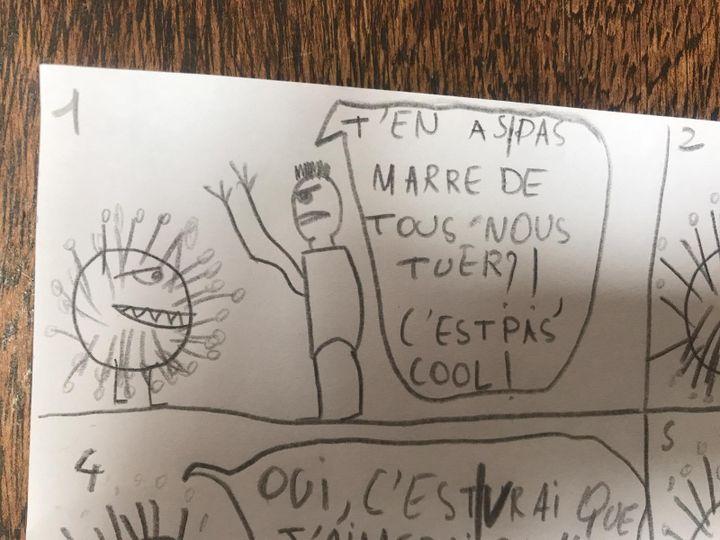 Un dessin de César montrant le coronavirus Covid-19, le 17 mars 2020. (LISA / FRANCEINFO)