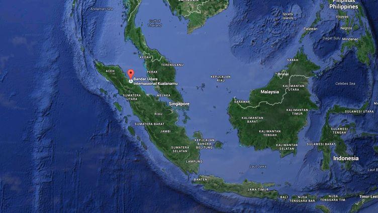Capture d'écran d'une carte Google Maps pointant l'aéroport de Kualanamu, sur l'île de Sumatra, en Indonésie. (GOOGLE MAPS)