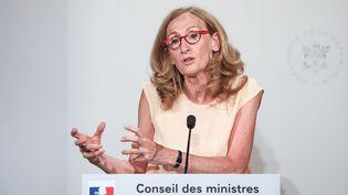 La ministre de la Justice, Nicole Belloubet, lors du compte-rendu du Conseil des ministres, le 24 juillet 2019, à Paris. (LUDOVIC MARIN / AFP)