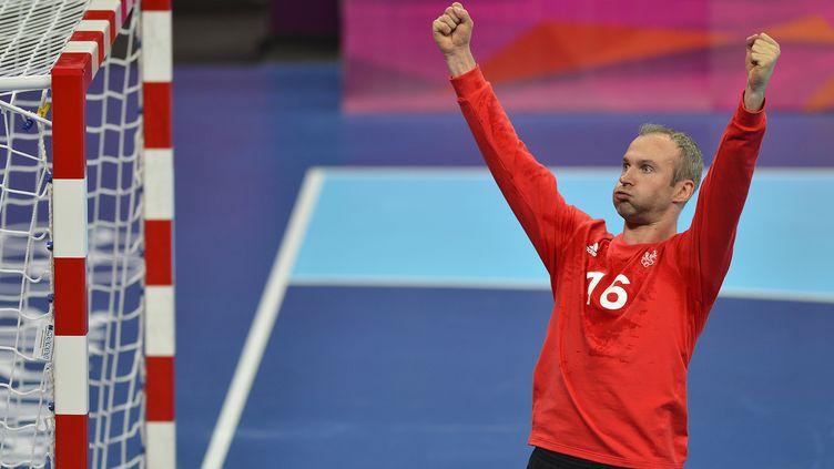 Le goal Thierry Omeyer lors de la finale des Jeux olympiques de Londres, dimanche 12 août. (ODD ANDERSEN / AFP)