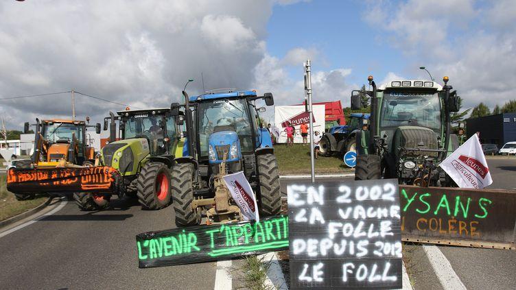 Un barrage filtrant mis en place par les agriculteurs à l'entrée de Marciac, dans le Gers, le 28 juillet 2015. (SEBASTIEN LAPEYRERE / MAXPPP)