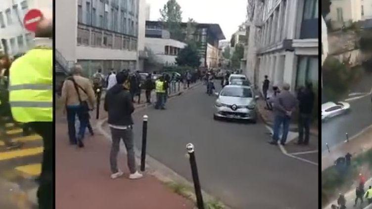 Captures d'écran de vidéos filmées le 1er mai 2019 montrant une intrusion dans l'enceinte de l'hôpital de la Pitié-Salpêtrière, à Paris. (DR)