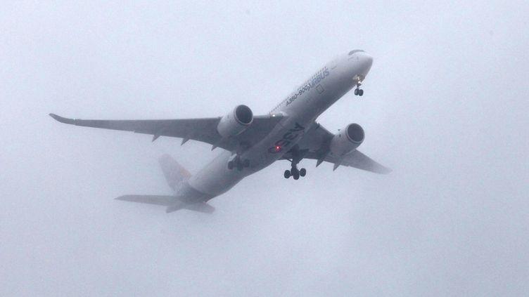 Un Airbus A350 au-dessus de l'aéroport de Clermont-Ferrand (Puy-de-Dôme), le 24 janvier 2014. (CITIZENSIDE/YOANN LOUBIER / CITIZENSIDE.COM / AFP)