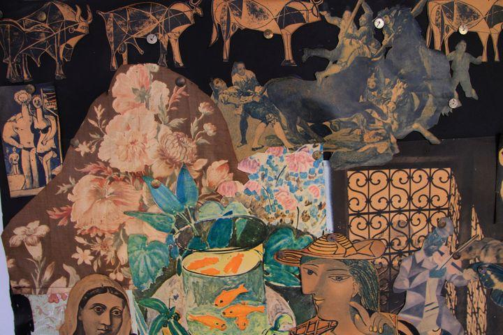 Claude Simon, sans titre, à partir de 1956-58, assemblage de papiers découpés, collés et punaisés sur panneau de bois (détail) (Richard Meier)